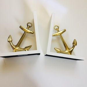 THRESHOLD Nautical Anchor Book Ends White & Gold